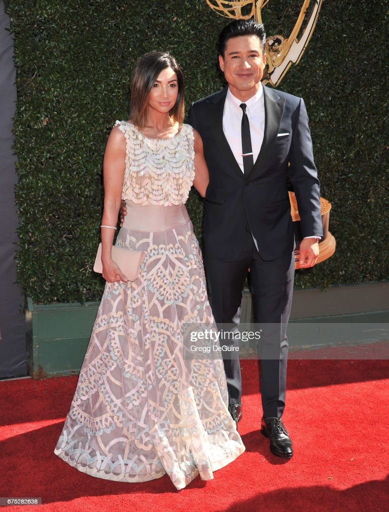Mario Lopez and Courtney Laine Mazza arrive at the 44th Annual Daytime Emmy Awards at Pasadena Civic Auditorium on April 30, 2017 in Pasadena, California.