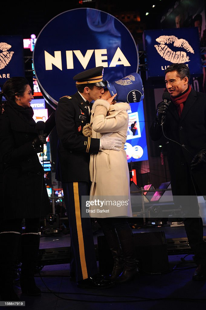 Mario Lopez and Courtney Lopez were on hand to co-host the NIVEA Kiss Stage in Times Square on New YearÕs Eve 2013, where John Cebak surprised his girlfriend Sonja Babic with a proposal on stage in front of thousands on December 31, 2012 in New York City.
