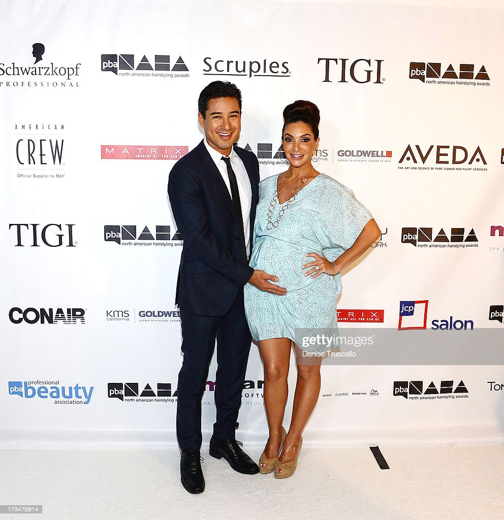 <a gi-track='captionPersonalityLinkClicked' href=/galleries/search?phrase=Mario+Lopez&family=editorial&specificpeople=235992 ng-click='$event.stopPropagation()'>Mario Lopez</a> and <a gi-track='captionPersonalityLinkClicked' href=/galleries/search?phrase=Courtney+Mazza&family=editorial&specificpeople=5650960 ng-click='$event.stopPropagation()'>Courtney Mazza</a> arrive at 2013 North American Hairstyling Awards at Mandalay Bay on July 14, 2013 in Las Vegas, Nevada.