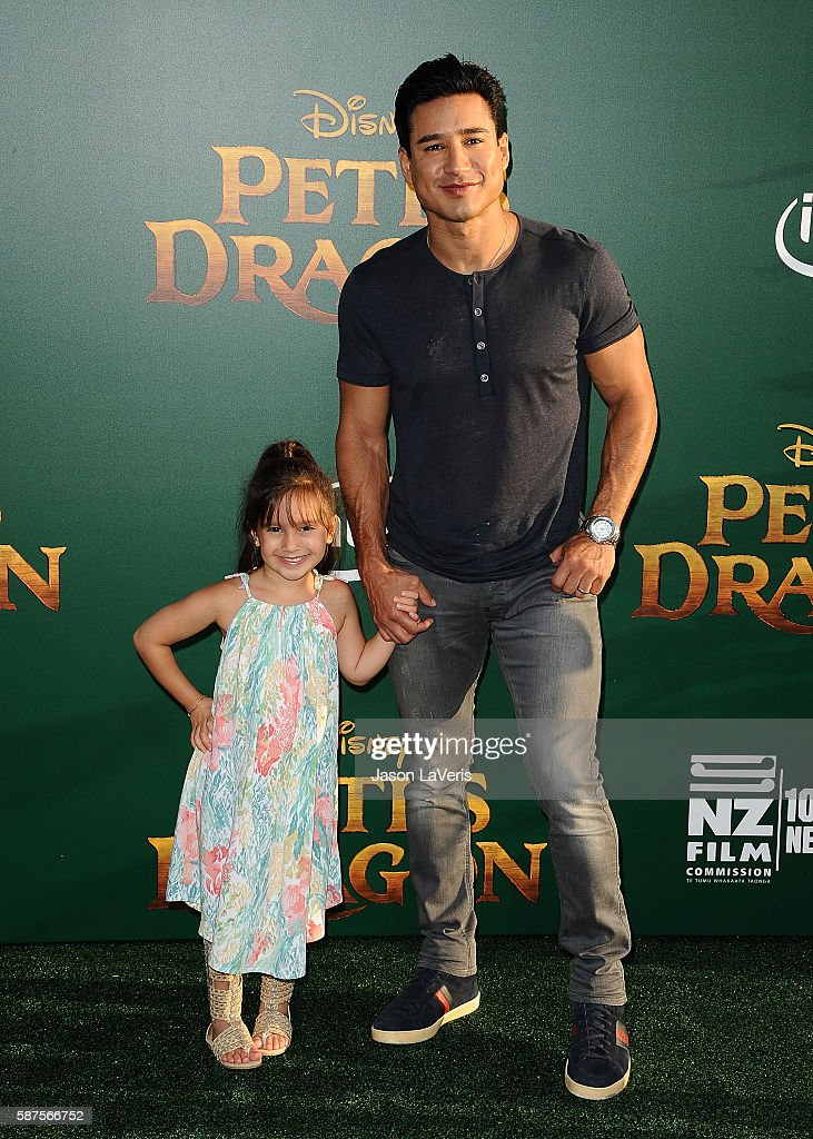 Mario Lopez and daughter Gia Francesca Lopez attend the premiere of 'Pete's Dragon' at the El Capitan Theatre on August 8 2016 in Hollywood California