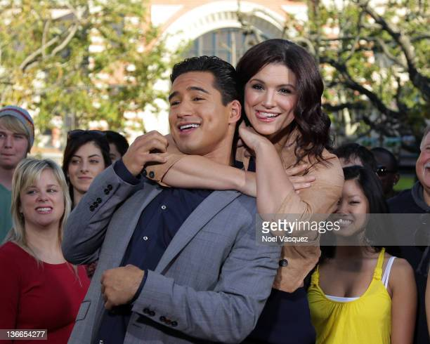 Mario Lopez and Gina Carano visit Extra at The Grove on January 9 2012 in Los Angeles California