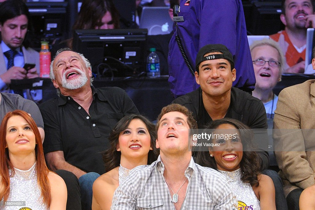 <a gi-track='captionPersonalityLinkClicked' href=/galleries/search?phrase=Mario+Lopez&family=editorial&specificpeople=235992 ng-click='$event.stopPropagation()'>Mario Lopez</a> and his father Mario Michael Lopez attend a basketball game between the Utah Jazz and the Los Angeles Lakers at Staples Center on December 9, 2012 in Los Angeles, California.