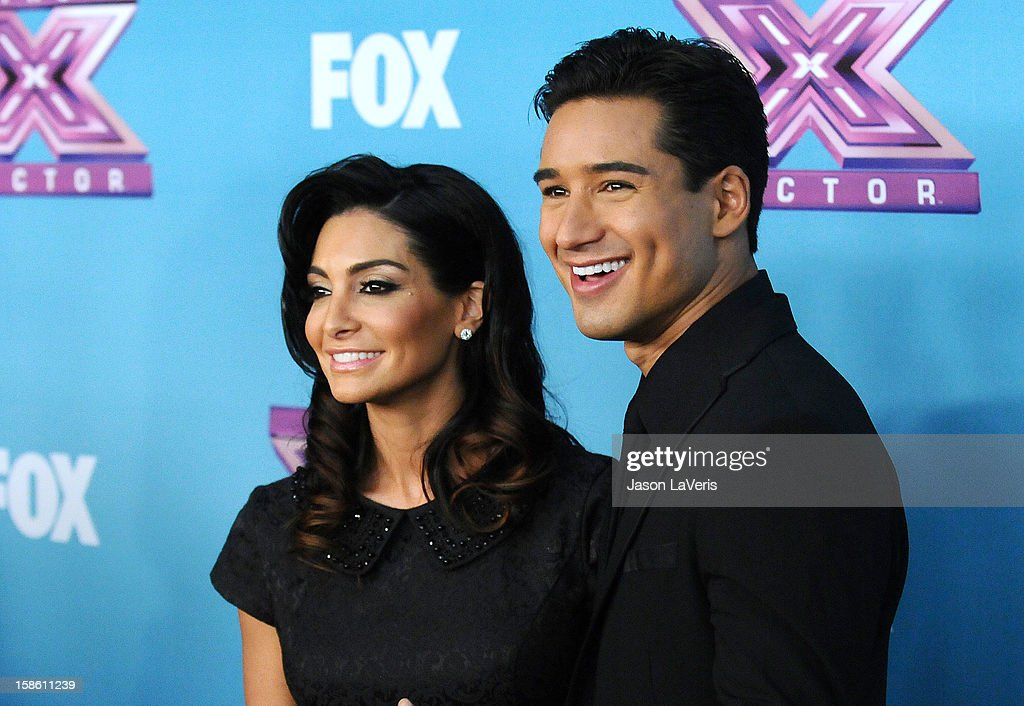 Mario Lopez (R) and wife Courtney Mazza attend the season finale of Fox's 'The X Factor' at CBS Television City on December 20, 2012 in Los Angeles, California.