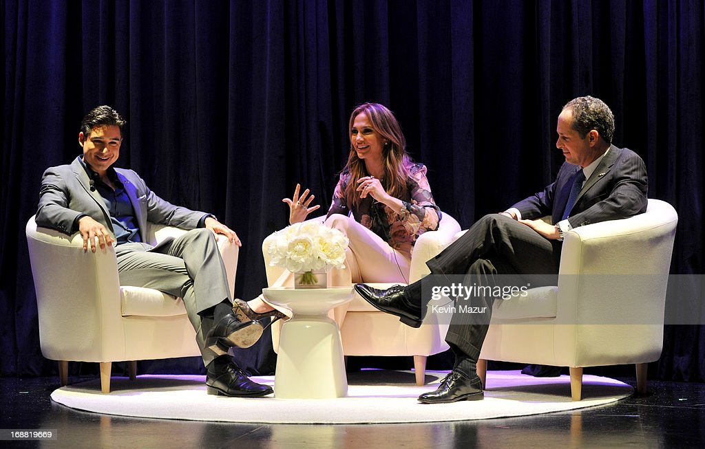 Mario Lopez, Chief Creative Officer Jennifer Lopez and CEO of NUVOtv Michael Schwimmer speak on stage during the NUVOtv Upfronts at The Edison Ballroom on May 15, 2013 in New York City.