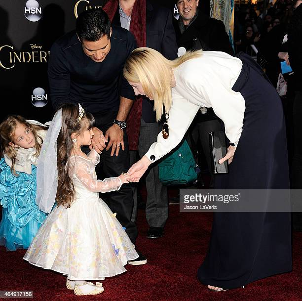 Mario Lopez daughter Gia Francesca Lopez and actress Cate Blanchett attend the premiere of 'Cinderella' at the El Capitan Theatre on March 1 2015 in...