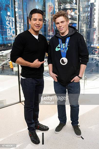 Mario Lopez interviews US Olympic skier Gus Kenworthy during his visit to 'Extra' at their HM Studio in Times Square on February 24 2014 in New York...