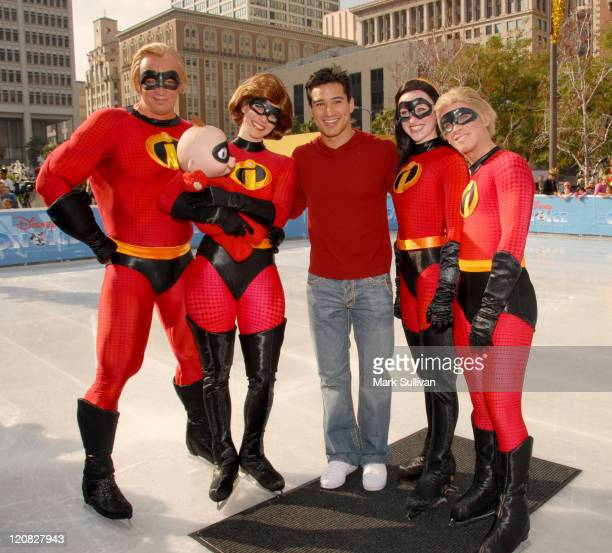 Mario Lopez with The Incredibles during Disney on Ice Celebrates 'Yes to Health and Fitness' at Pershing Square Ice Rink in Los Angeles California...