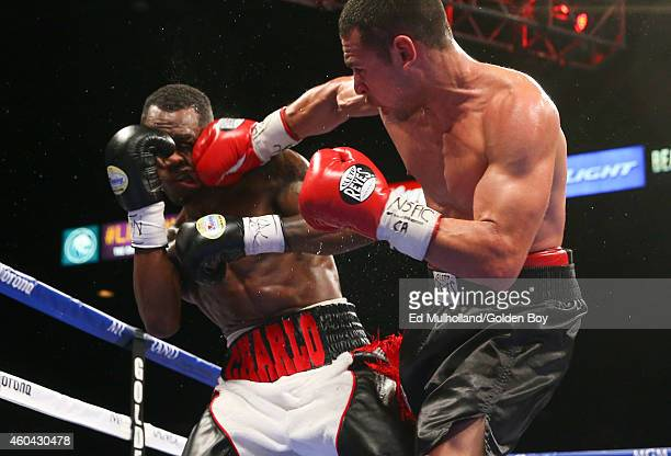 Mario Lozano lands a right hand to the head of Jermell Charlo during their junior welterweight fight at the MGM Grand Garden Arena on December 13...