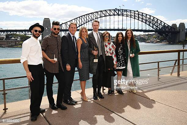 Mario Luca Carlucci Peter Strateas Chris Gilbert Natalie Xenita Toni Maticevski Eva Galambos Tessa MacGraw and Beth MacGraw pose at the Australian...