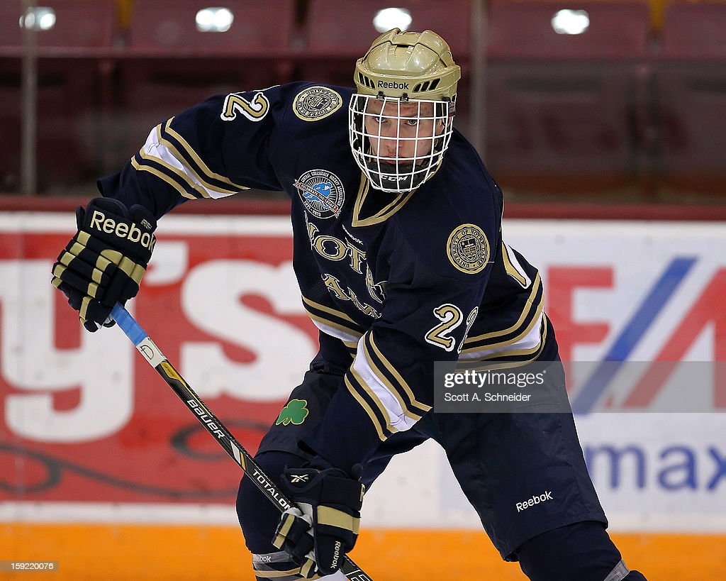 Mario Lucia #22 of the Notre Dame Fighting Irish warms up before a game against the Minnesota Gophers January 8, 2013 at Mariucci Arena in Minneapolis, Minnesota.