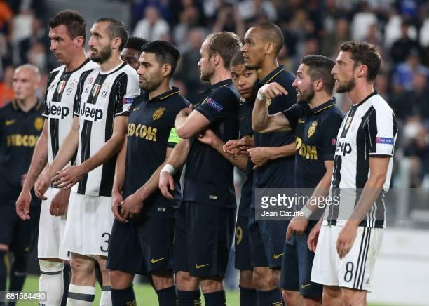Mario Mandzukic Giorgio Chiellini of Juventus Radamel Falcao Valere Germain Kylian Mbappe Fabio Henrique Tavares aka Fabinho Joao Moutinho of Monaco...