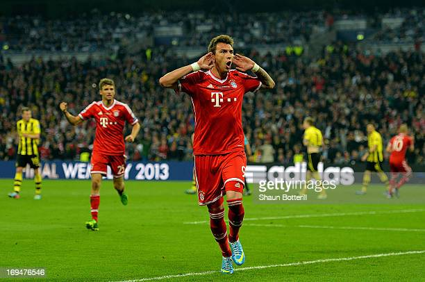 Mario Mandzukic of Bayern Muenchen celebrates after scoring a goal during the UEFA Champions League final match between Borussia Dortmund and FC...