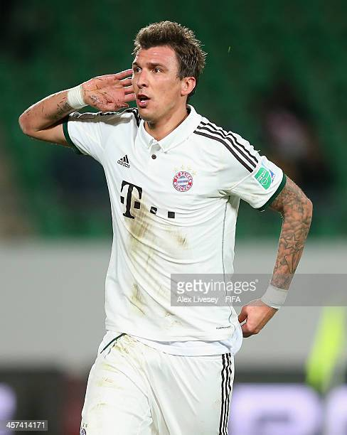 Mario Mandzukic of Bayern Muenchen celebrates after scoring his goal during the FIFA Club World Cup Semi Final match between Guangzhou Evergrande FC...