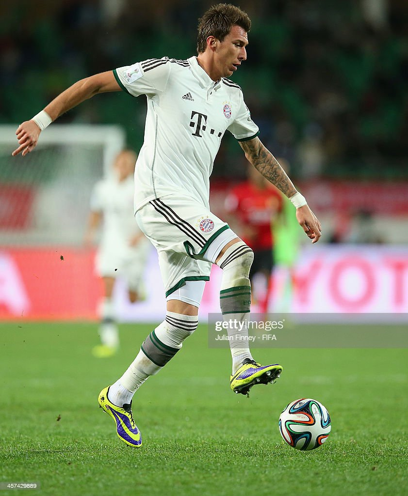 Mario Mandzukic of Bayern Muenchen in action during the FIFA Club World Cup Semi Final match between Guangzhou Evergrande FC and Bayern Muenchen at the Agadir Stadium on December 17, 2013 in Agadir, Morocco.