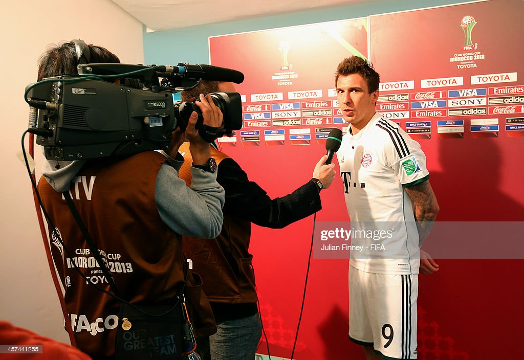 Mario Mandzukic of Bayern Muenchen talks in an interview after the FIFA Club World Cup Semi Final match between Guangzhou Evergrande FC and Bayern Muenchen at the Agadir Stadium on December 17, 2013 in Agadir, Morocco.