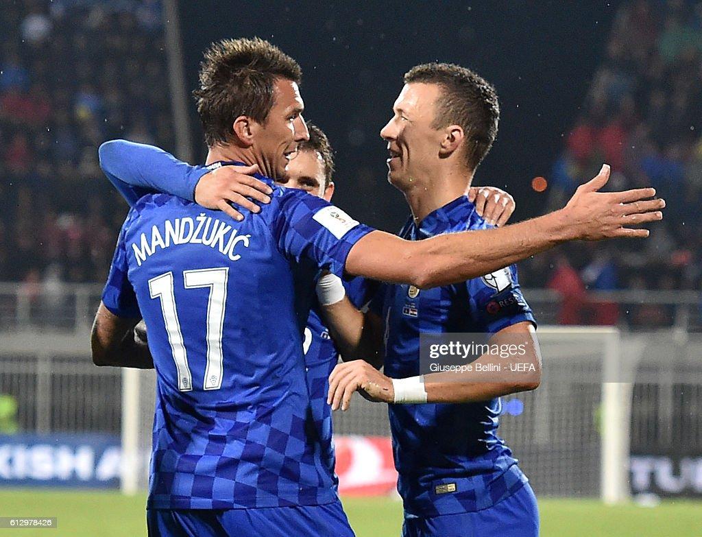 Mario Mandzukic of Croatia celebrates after scoring the goal 0-2 during the FIFA 2018 World Cup Qualifier between Kosovo and Croatia at Loro Borici Stadium on October 6, 2016 in Shkoder, Albania.