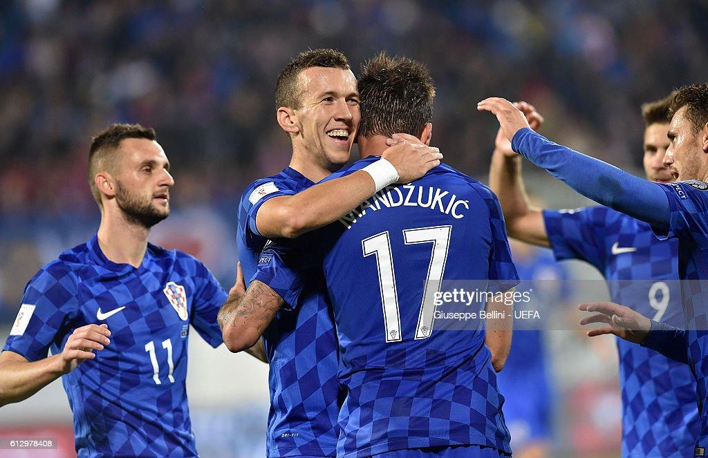 Mario Mandzukic of Croatia celebrates after scoring the goal 0-3 during the FIFA 2018 World Cup Qualifier between Kosovo and Croatia at Loro Borici Stadium on October 6, 2016 in Shkoder, Albania.