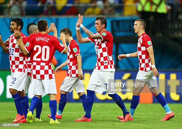Mario Mandzukic of Croatia celebrates scoring his team's fourth goal his second during the 2014 FIFA World Cup Brazil Group A match between Cameroon...