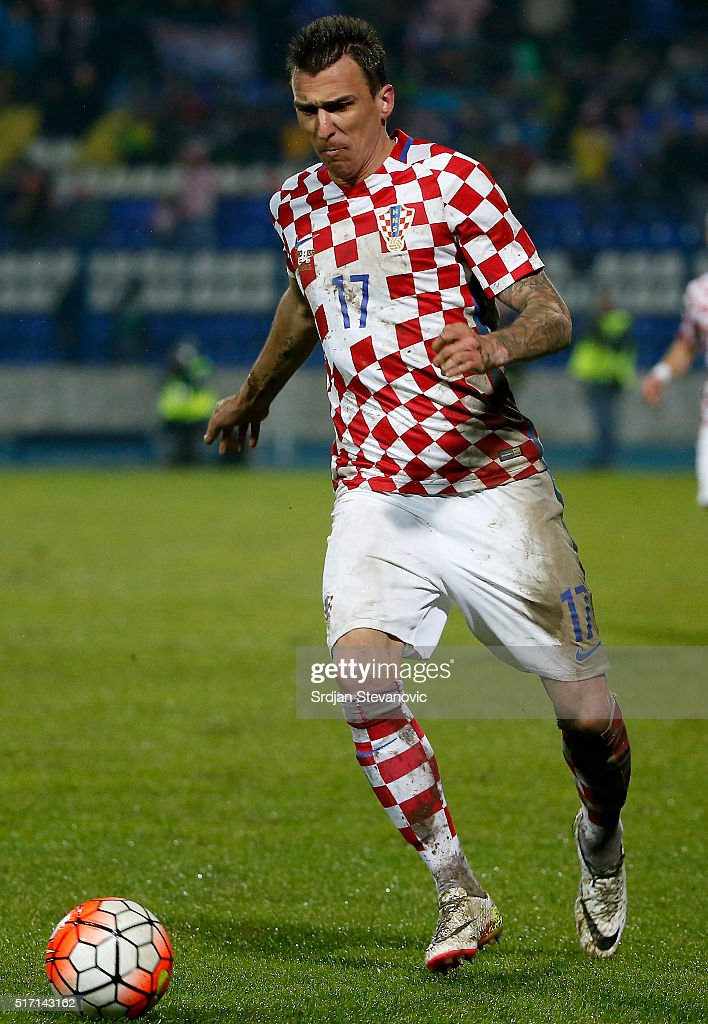 Mario Mandzukic of Croatia in action during the International Friendly match between Croatia and Israel at stadium Gradski Vrt on March 23 2016 in...