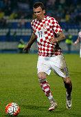 Mario Mandzukic of Croatia in action during the International Friendly match between Croatia and Israel at stadium Gradski Vrt on March 23 2016 in...