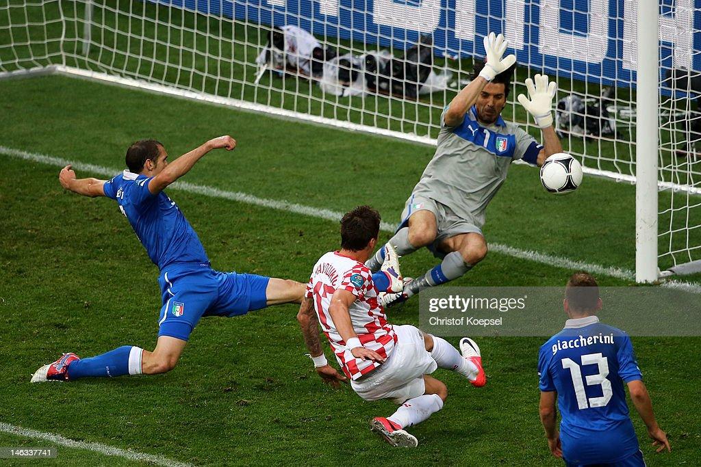 Mario Mandzukic of Croatia scores the opening goal past Gianluigi Buffon of Italy during the UEFA EURO 2012 group C match between Italy and Croatia at The Municipal Stadium on June 14, 2012 in Poznan, Poland.