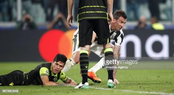 Mario Mandzukic of FC Juventus celebrates after scoring a goal during the UEFA Champions League group D football match between FC Juventus and...