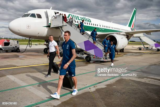 Mario Mandzukic of Juventus arrives on August 4 2017 in London United Kingdom