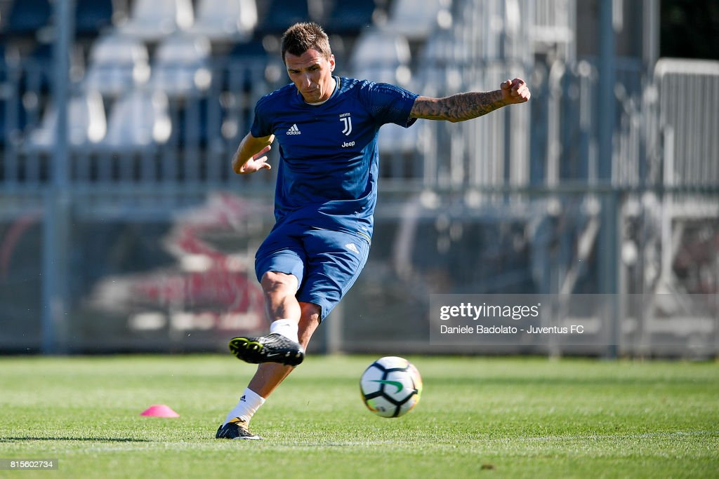 Mario Mandzukic of Juventus during a training session on July 16, 2017 in Vinovo, Italy.