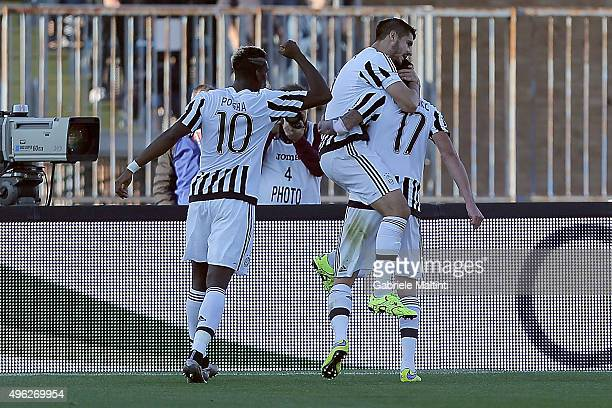Mario Mandzukic of Juventus FC celebrates after scoring a goal during the Serie A match between Empoli FC and Juventus FC at Stadio Carlo Castellani...