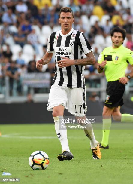 Mario Mandzukic of Juventus in action during the Serie A match between Juventus and Cagliari Calcio at Allianz Stadium on August 19 2017 in Turin...