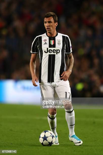 Mario Mandzukic of Juventus in action during the UEFA Champions League Quarter Final second leg match between FC Barcelona and Juventus at Camp Nou...