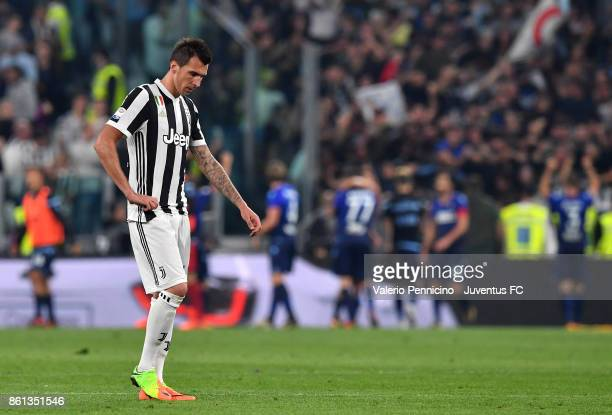 Mario Mandzukic of Juventus is disappointed at the end of the Serie A match between Juventus and SS Lazio on October 14 2017 in Turin Italy