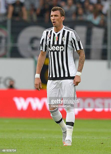 Mario Mandzukic of Juventus reacts during the friendly match between Juventus and Borussia Dortmund on July 25 2015 in St Gallen Switzerland