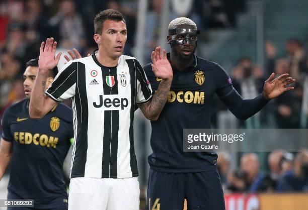 Mario Mandzukic of Juventus Tiemoue Bakayoko of Monaco during the UEFA Champions League semi final second leg match between Juventus Turin and AS...