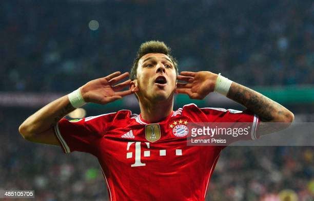 Mario Mandzukic of Muenchen celebrates a goal during the DFB Cup semi final match between FC Bayern Muenchen and 1 FC Kaiserslautern at Allianz Arena...