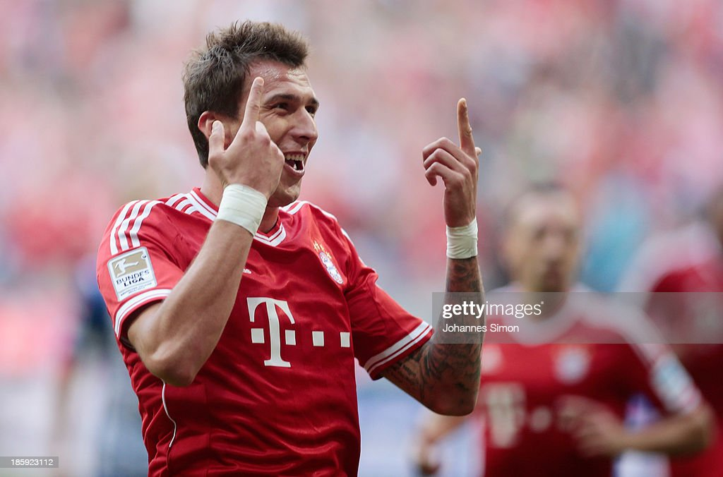 Mario Mandzukic of Muenchen celebrates after scoring his team's 2nd goal during the Bundesliga match between FC Bayern Muenchen and Hertha BSC Berlin at Allianz Arena at Allianz Arena on October 26, 2013 in Munich, Germany.