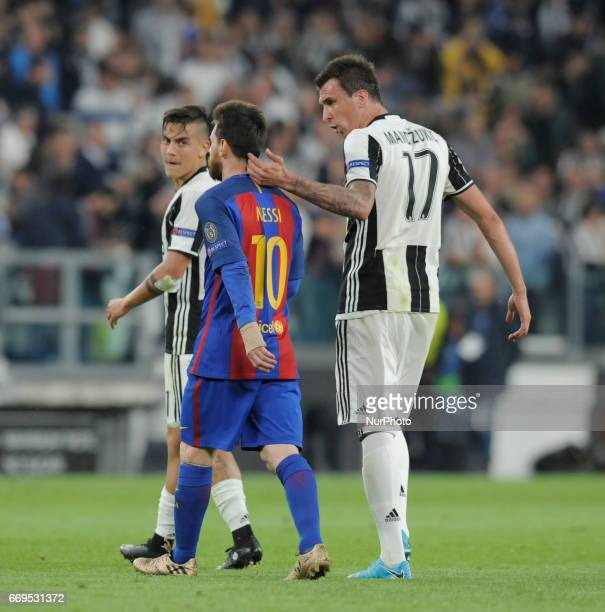 Mario Mandzukic Paulo Dybala of Juventus player and Lionel Messi of Barcelona player during the Uefa Champions League 20162017 match between FC...