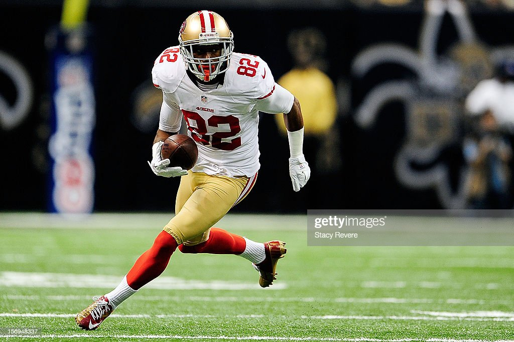 <a gi-track='captionPersonalityLinkClicked' href=/galleries/search?phrase=Mario+Manningham&family=editorial&specificpeople=2139296 ng-click='$event.stopPropagation()'>Mario Manningham</a> #82 of the San Francisco 49ers runs for yards against the New Orleans Saints during a game at the Mercedes-Benz Superdome on November 25, 2012 in New Orleans, Louisiana.