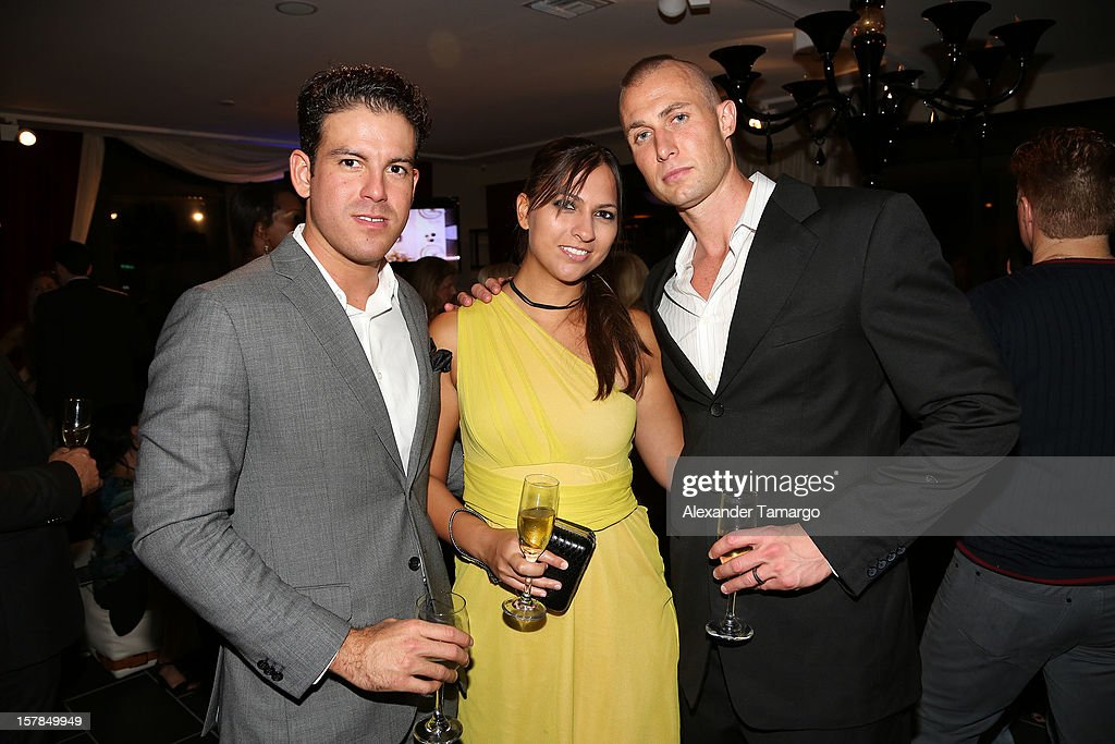 Mario Martinez, Sabah Corso and Greg Corso attend FENDI Casa's Art Basel cocktail party honoring the contemporary artwork of Andy Warhol with Elle Decor at FENDI Casa Luxury Living Showroom on December 6, 2012 in Miami, Florida.