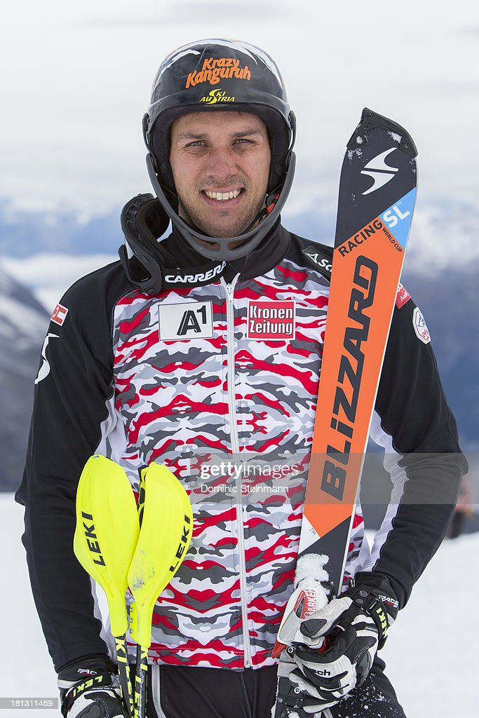 <a gi-track='captionPersonalityLinkClicked' href=/galleries/search?phrase=Mario+Matt&family=editorial&specificpeople=816226 ng-click='$event.stopPropagation()'>Mario Matt</a> from the Austrian Alpine Skiing Worldcup Team posing for a portrait on the Fee glacier on September 3, 2013 in Saas-Fee, Switzerland.