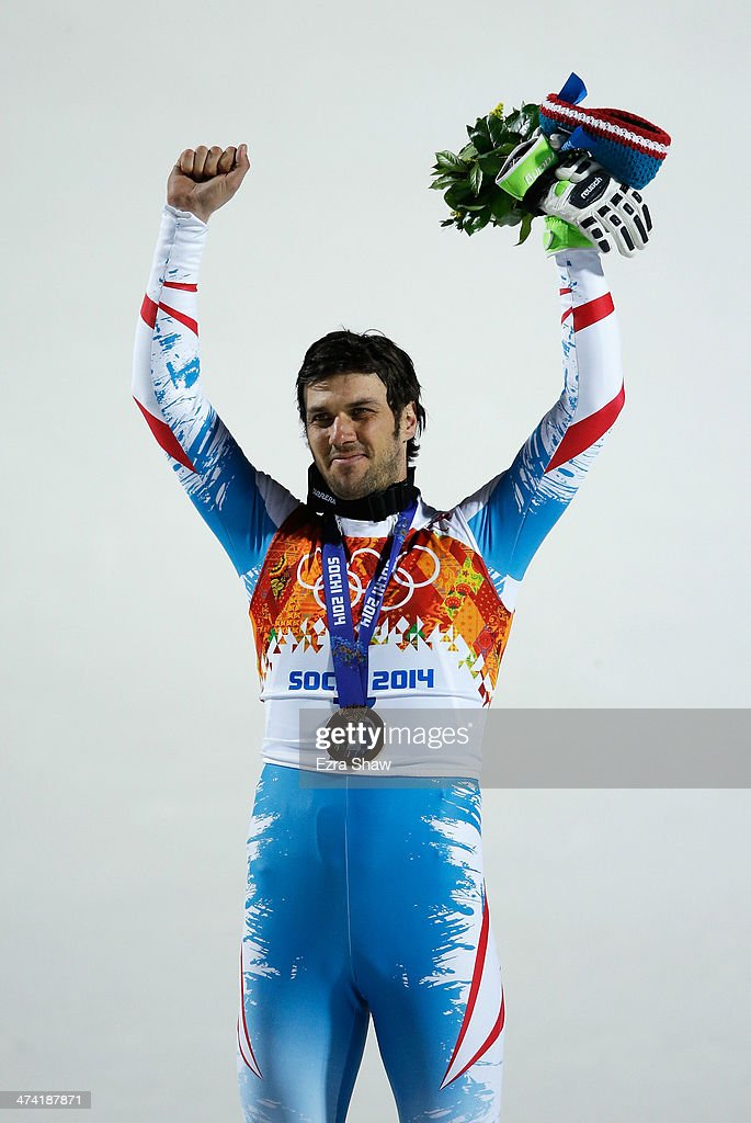 Mario Matt of Austria celebrates with his gold medal during the medal ceremony for the Men's Slalom during day 15 of the Sochi 2014 Winter Olympics at Rosa Khutor Alpine Center on February 22, 2014 in Sochi, Russia.
