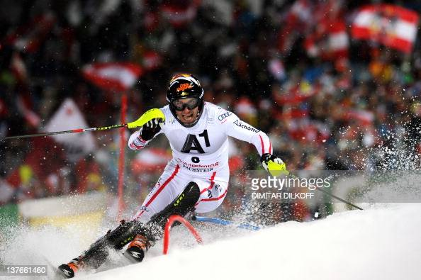 Mario Matt of Austria clears a gate during the second run of the men's FIS Alpine Skiing World Cup 'Nightrace' slalom in Schladming on January 24...