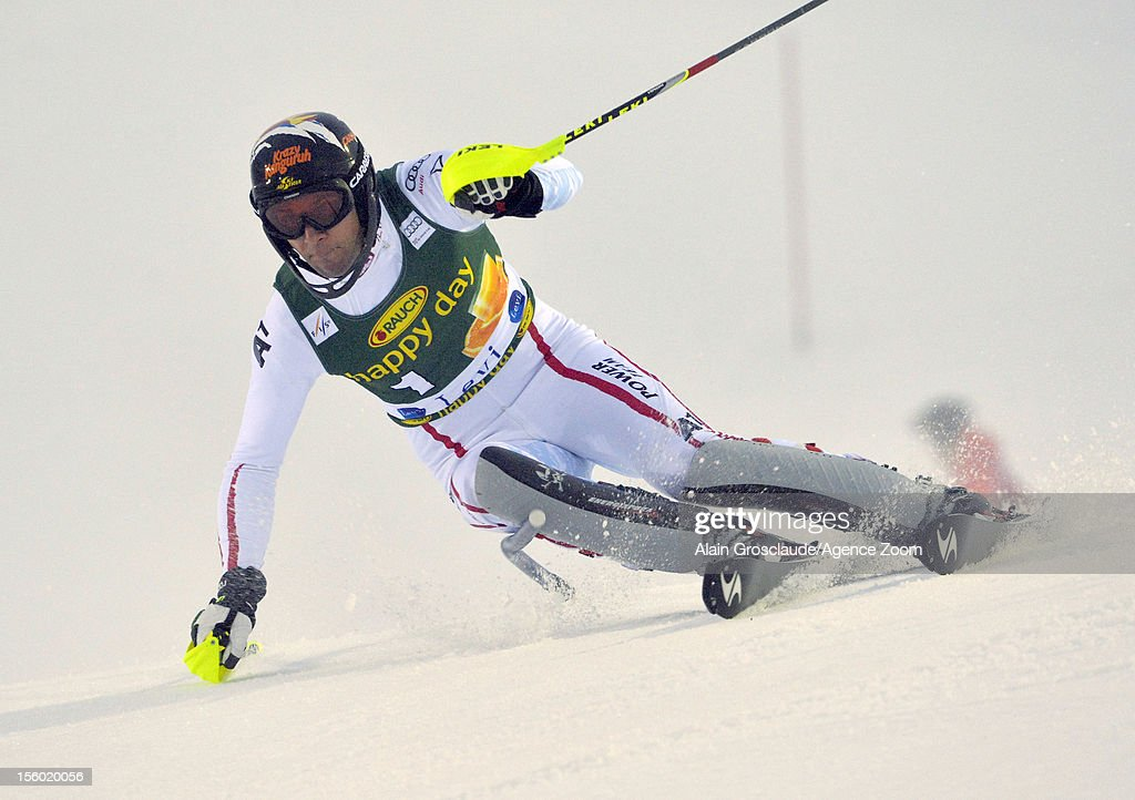 Mario Matt of Austria competes during the Audi FIS Alpine Ski World Cup Men's Slalom on November 11, 2012 in Levi, Finland.