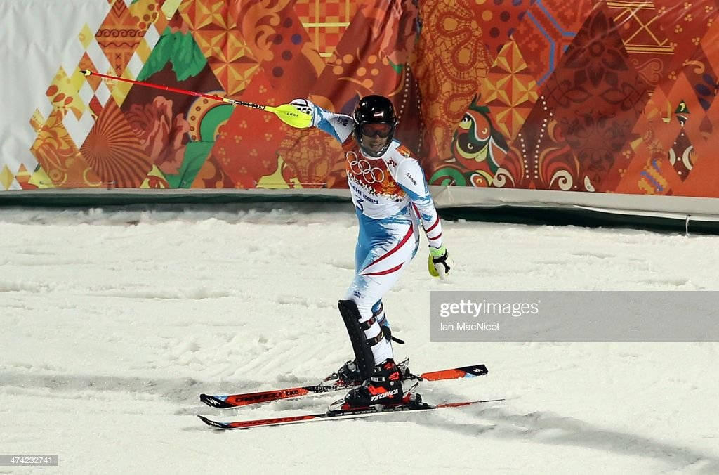 Mario Matt of Austria competes during the second run of the Men's Slalom on Day 15 of the Sochi 2014 Winter Olympics at Rosa Khutor Alpine Centre on February 22, 2014 in Sochi, Russia.