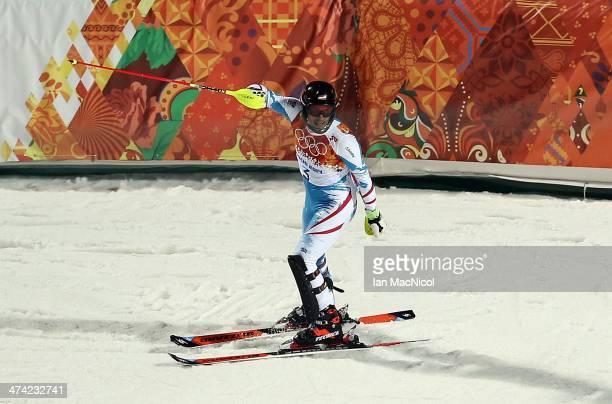 Mario Matt of Austria competes during the second run of the Men's Slalom on Day 15 of the Sochi 2014 Winter Olympics at Rosa Khutor Alpine Centre on...