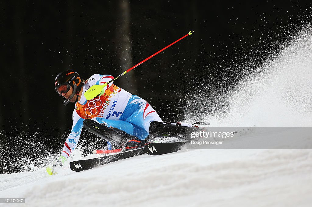 <a gi-track='captionPersonalityLinkClicked' href=/galleries/search?phrase=Mario+Matt&family=editorial&specificpeople=816226 ng-click='$event.stopPropagation()'>Mario Matt</a> of Austria in action in the second run during the Men's Slalom during day 15 of the Sochi 2014 Winter Olympics at Rosa Khutor Alpine Center on February 22, 2014 in Sochi, Russia.
