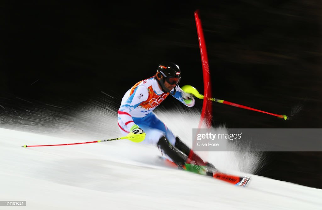 Mario Matt of Austria in action in the second run during the Men's Slalom during day 15 of the Sochi 2014 Winter Olympics at Rosa Khutor Alpine Center on February 22, 2014 in Sochi, Russia.