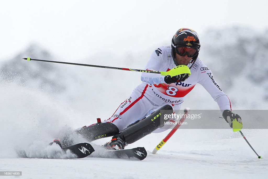 Mario Matt of Austria races down the course competing in the Audi FIS Alpine Skiing World Cup Finals slalom race on March 17, 2013 in Lenzerheide, Switzerland,