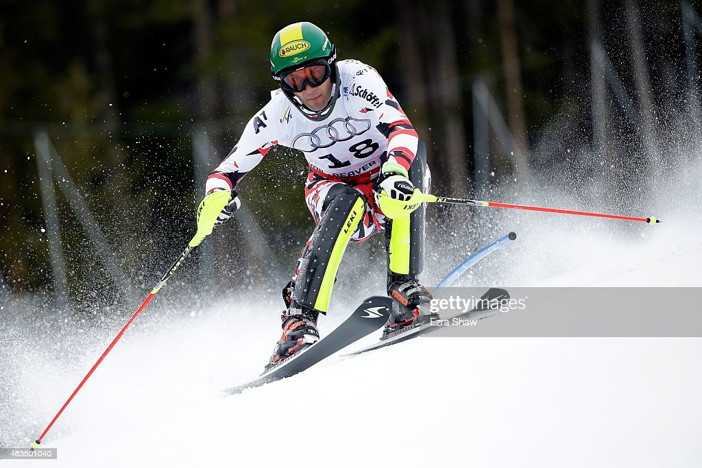 <a gi-track='captionPersonalityLinkClicked' href=/galleries/search?phrase=Mario+Matt&family=editorial&specificpeople=816226 ng-click='$event.stopPropagation()'>Mario Matt</a> of Austria races during the Men's Slalom on the Birds of Prey racecourse on Day 14 of the 2015 FIS Alpine World Ski Championships on February 15, 2015 in Beaver Creek, Colorado.