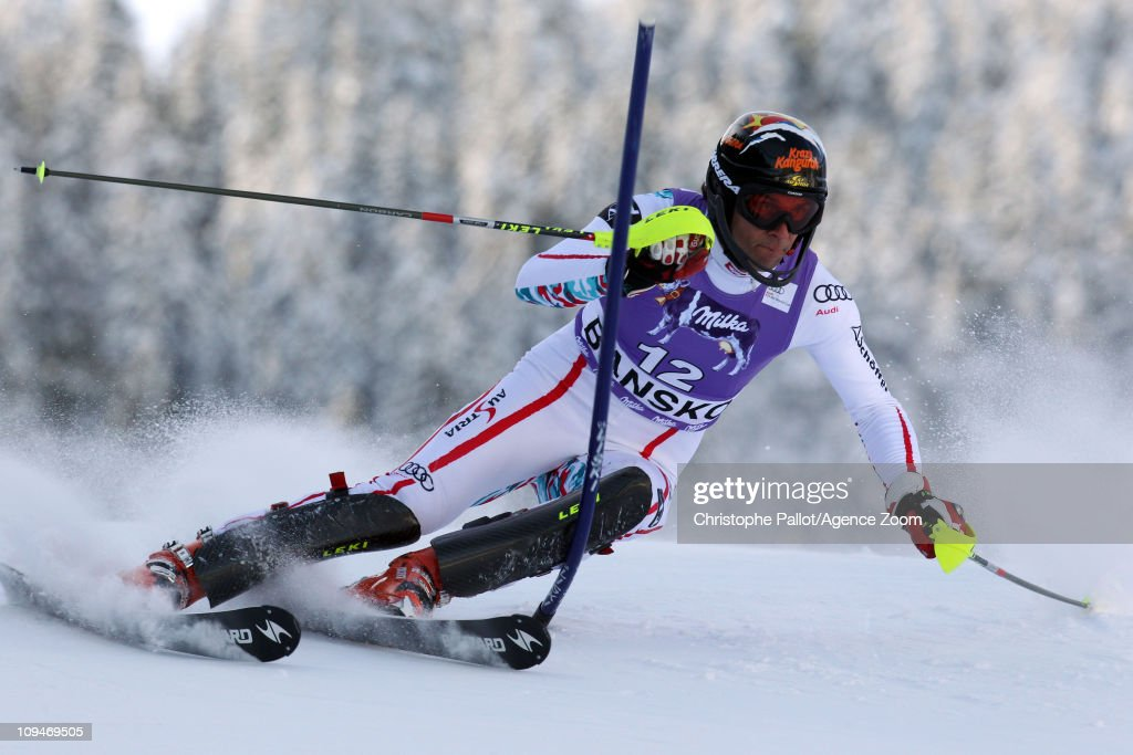 <a gi-track='captionPersonalityLinkClicked' href=/galleries/search?phrase=Mario+Matt&family=editorial&specificpeople=816226 ng-click='$event.stopPropagation()'>Mario Matt</a> of Austria takes 1st place during the Audi FIS Alpine Ski World Cup Men's Slalom on February 27, 2011 in Bansko, Bulgaria.